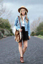 blue denim rag & bone jacket - brown sam edelman boots