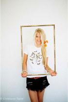 Kitty Cat Apparel t-shirt - One Teaspoon skirt - JCrew belt