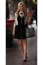 red Cole Haan shoes - asos dress - cream PJK jacket - black botkier purse