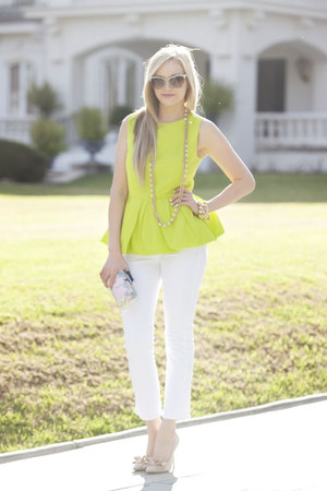 chartreuse Tibi top - white J Crew jeans - Diane Von Furstenberg bag
