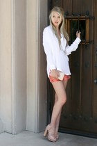 white vince blouse - coral Elizabeth & James shorts - peach Vince Camuto heels