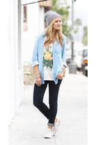 planet blue t-shirt - J Brand jeans - Pura Vida hat - Bella Dahl shirt