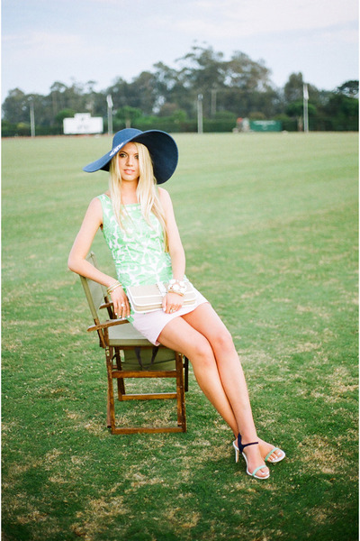 navy Marley Lilly hat - lime green Lilly Pulitzer dress - Cole Haan bag