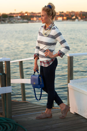 JCrew purse - Frye shoes - J Crew sweater - JCrew shirt - JCrew accessories