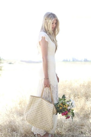 white nightcap dress - beige Anthropologie bag - white Via Spiga sandals