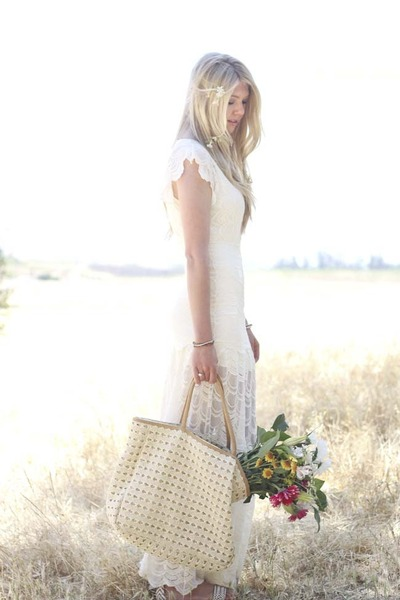 white nightcap dress - beige Anthropologie bag - white Via Spiga sandals