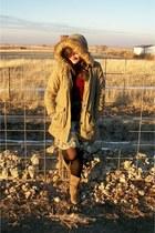 light blue Rue 21 dress - light brown Payless boots - tan sears jacket