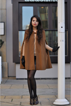 brown cape Zara coat - brown booties armani shoes