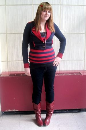 red Charlotte Russe boots - blue Mossimo jeans - red Forever 21 top - blue Forev