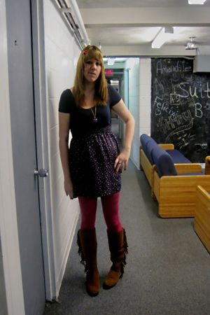 brown boots - pink merona tights - black Forever 21 dress - black Forever 21 nec