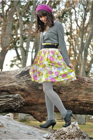 black boots - gray tights - pink liz claiborne skirt - gray cardigan - pink hat