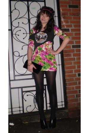 black We Love Colors tights - pink Sirens dress - black Harley Davidson t-shirt