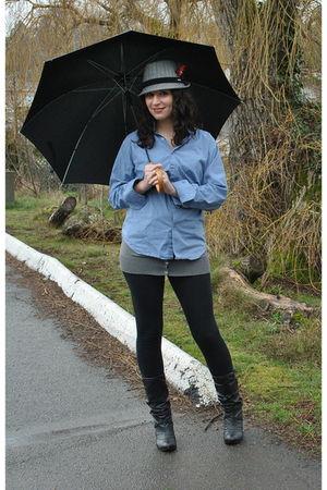blue shirt - gray joe fresh style fresh style cardigan - black boots - gray hat