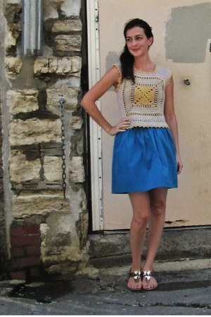 blue bubble Kimchi Blue skirt - yellow crochet vintage top