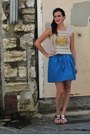 Yellow-crochet-vintage-top-blue-bubble-kimchi-blue-skirt