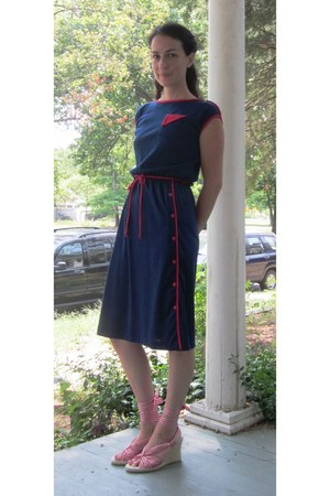 navy vintage dress - red gingham Tommy Hilfiger wedges