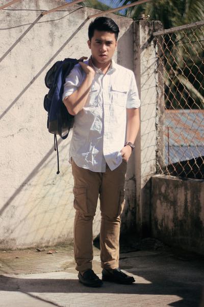 ivory Forever 21 shirt - navy Regatta bag - brown Zara pants