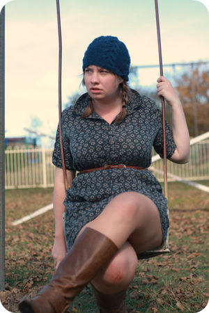 green MissShop dress - brown from Myer boots - blue OrganicWear hat - brown Cott