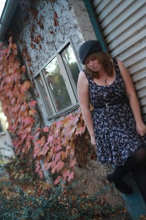 gray MissShop dress - black The Supermarket tights - gray hat - red Baja Design