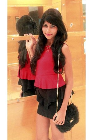 red peplum Zara dress - black fur H&M bag - black peplum skirt