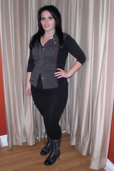 dark gray lip service vest - black pants - black boots - black shirt - black top