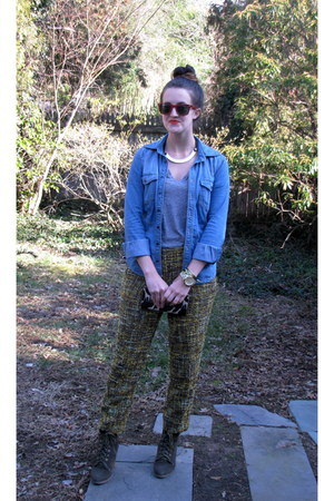 H&M necklace - Ray Ban sunglasses - JCrew t-shirt - BCBG top - JCrew pants