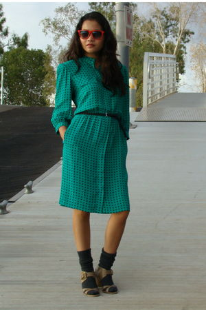 green Maggie London dress - black H&M belt - brown Faryl Robin shoes