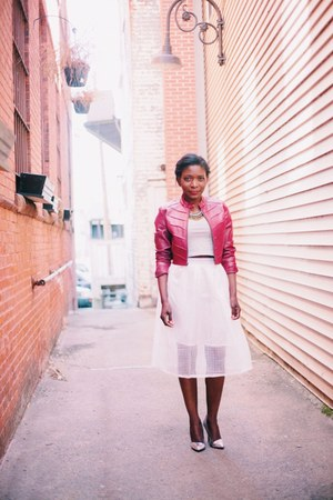 white mesh midi skirt skirt - maroon Charlotte Russe jacket
