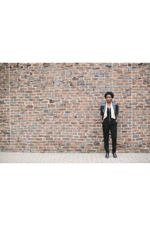 black leather jacket thrifted jacket - black Target boots - black bodysuit