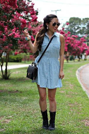 light blue denim Forever 21 dress - black combat boots UrbanOG boots
