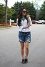 Black-booties-american-eagle-boots-white-button-down-boutique-shirt