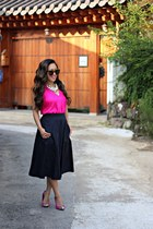 navy midi eShakti skirt - brown Karen Walker sunglasses - hot pink Target heels