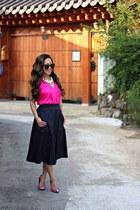 navy midi eShakti skirt - brown Karen Walker sunglasses - hot pink Target heels