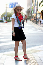 black skater Forever 21 skirt - eggshell Forever 21 hat - red boutique scarf