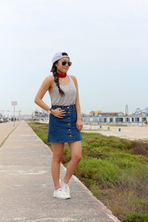 white H&M sneakers - light blue Jadelynn Brooke hat - navy denim Sheinside skirt