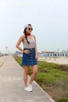 white H&M sneakers - light blue Jadelynn Brooke hat - navy denim Sheinside skirt