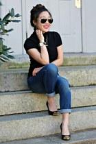 black TJ Maxx heels - navy boyfriend jeans East  Lo jeans