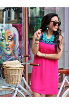 brown Karen Walker sunglasses - hot pink Fabulous Finds Boutique dress