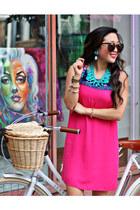 brown Karen Walker sunglasses - hot pink Fabulous Finds Boutique dress