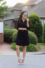 Black-lulus-dress-aquamarine-lulus-earrings-white-lulus-heels