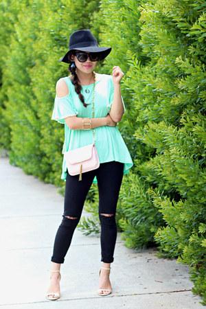 lime green Impressions Boutique top - black Topshop jeans - black Forever 21 hat