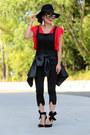 Black-forever-21-hat-gold-karen-walker-sunglasses-red-choies-top