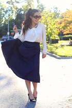 navy midi eShakti skirt - brown Calico sunglasses - ivory Forever 21 blouse