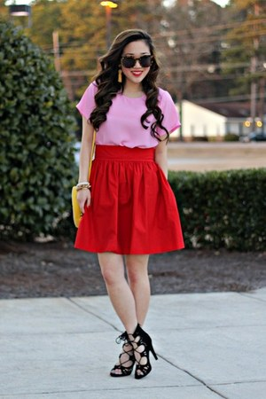 red cotton sateen Brynnie skirt - bubble gum LuLus shirt
