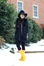black Forever 21 hat - yellow rain boots Hunter boots
