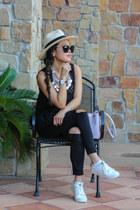black distressed Topshop jeans - light pink Prada bag