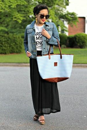 sky blue denim Forever 21 jacket - black maxi dress boutique dress