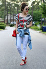 White-distressed-impressions-boutique-jeans-black-striped-romwe-shirt