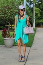 black Nasty Gal sunglasses - aquamarine tank Impressions Boutique dress