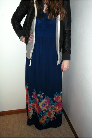 maxi Old Navy dress - leather Target jacket